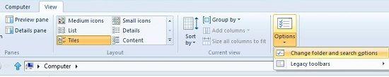 Change folder search option