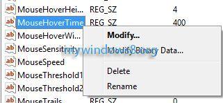Modify MouseHoverTime