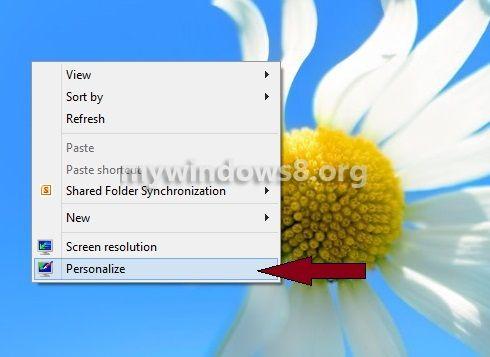 Click Personalize