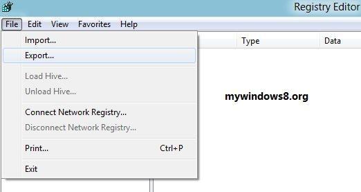Select export registry