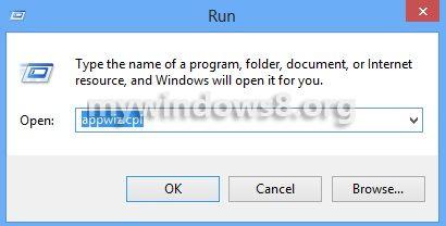 Run appwiz.cpl