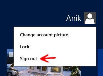 Log off in Windows 8