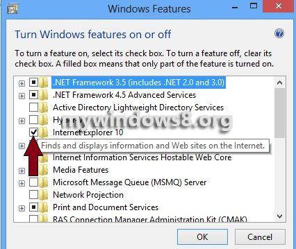 Uncheck Internet Explorer 10