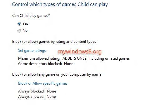 game rating settings