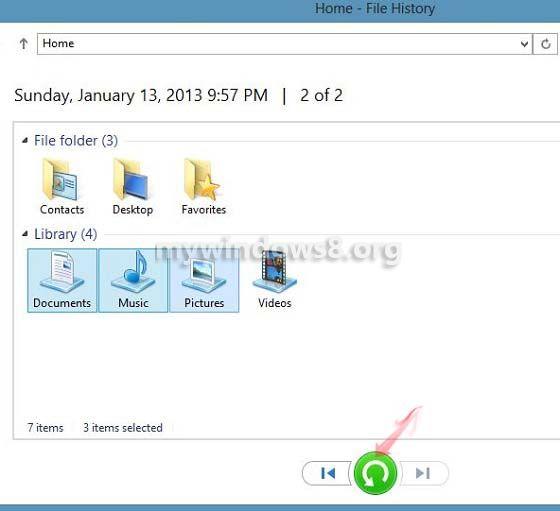 Restore using File History