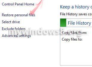 Click restore personal files