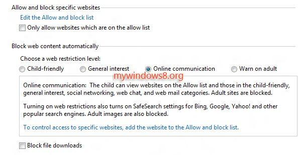 set settings in web restriction