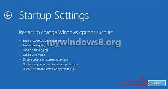 startup settings click restart