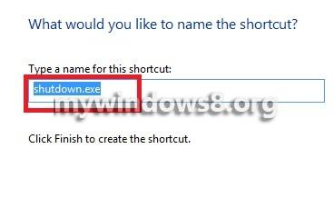 Name of shortcut