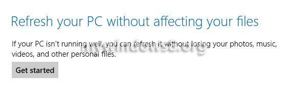 get started refresh Windows 8 PC