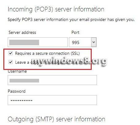 POP3 Server Information