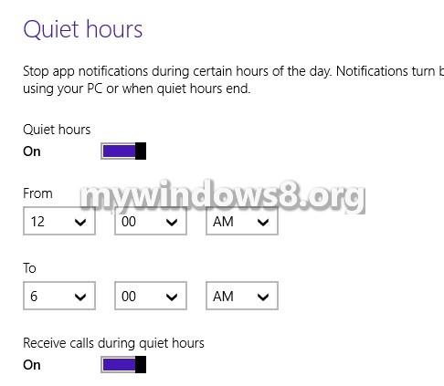 Quiet Hours in Windows 8.1