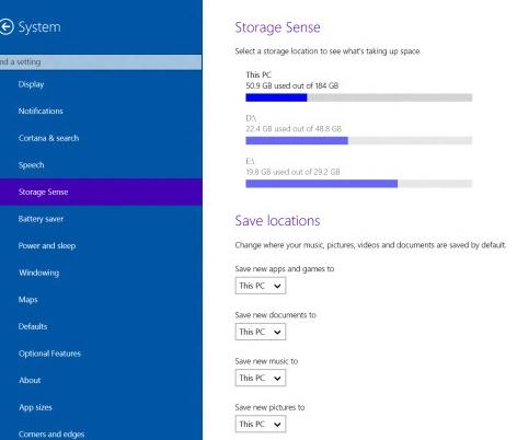 Storage Sense revamps in Windows 10 Build 9901