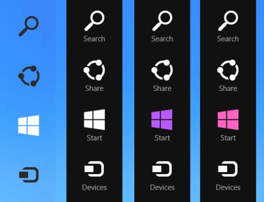 Windows Threshold Windows 9 Charms bar is modified