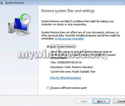 Undo System Restore