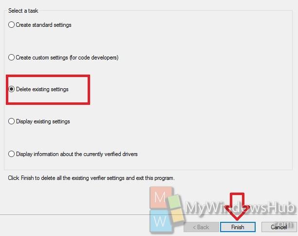 delete existing settings