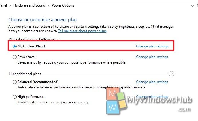 different power plan