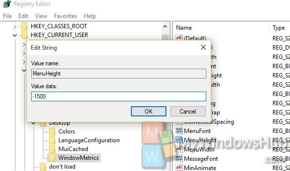 menu height in Windows 10