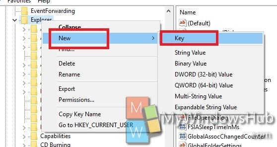 Registry Editocreate new key