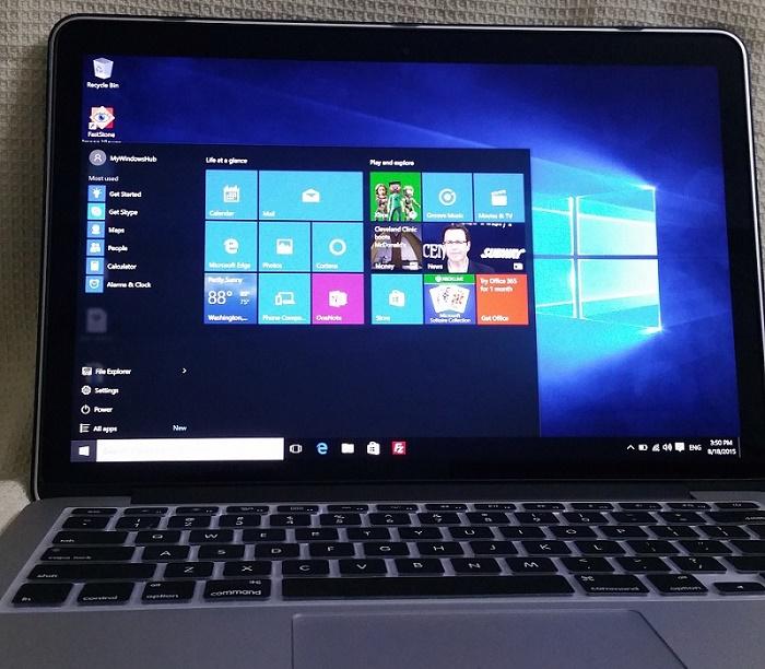 Windows 10 running on Mac