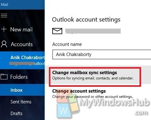 Change Mailbox Sync Settings
