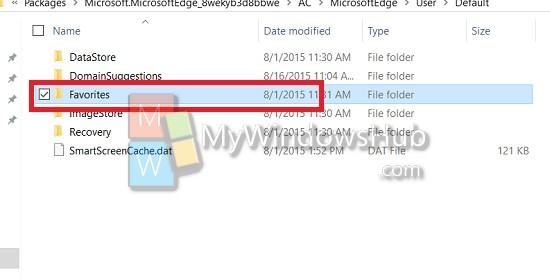 check the Favorites folder for backup