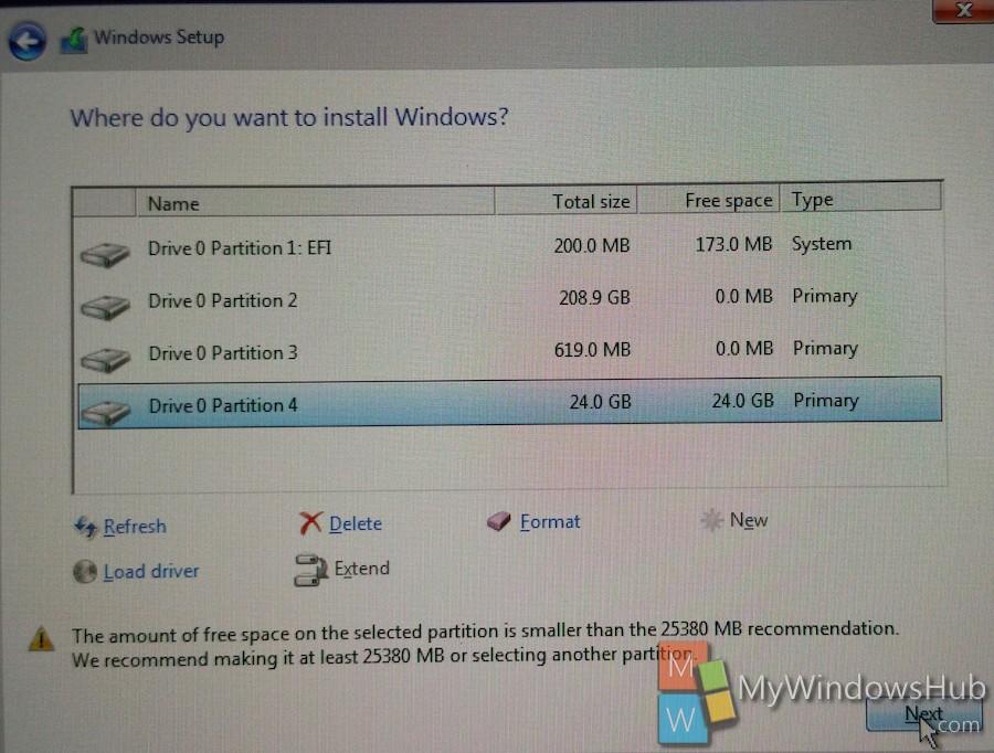 Click on Next to start Windows 10 Installation