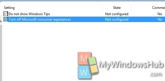 turn off Microsoft Consumer experiences
