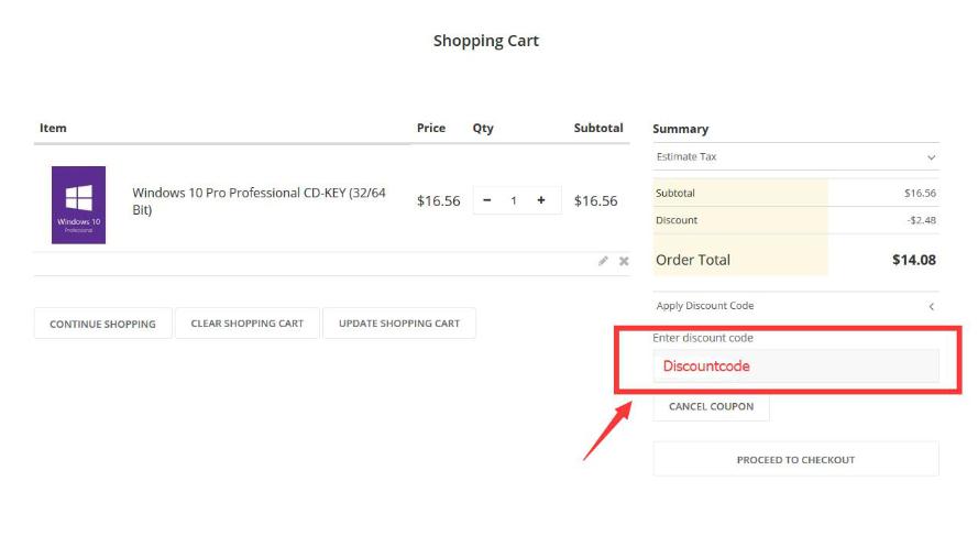 Enter Discount Code