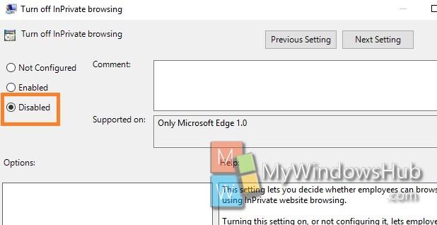 Microsoft Edge options