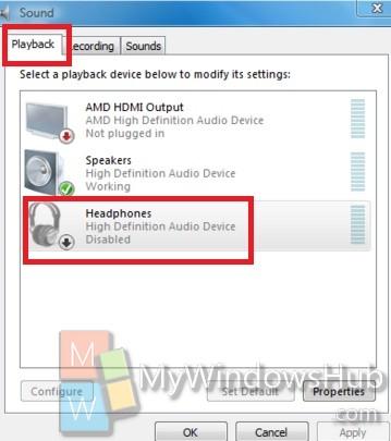 playback headphone