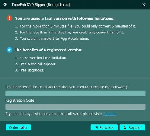 Register TuneFab DVD Ripper