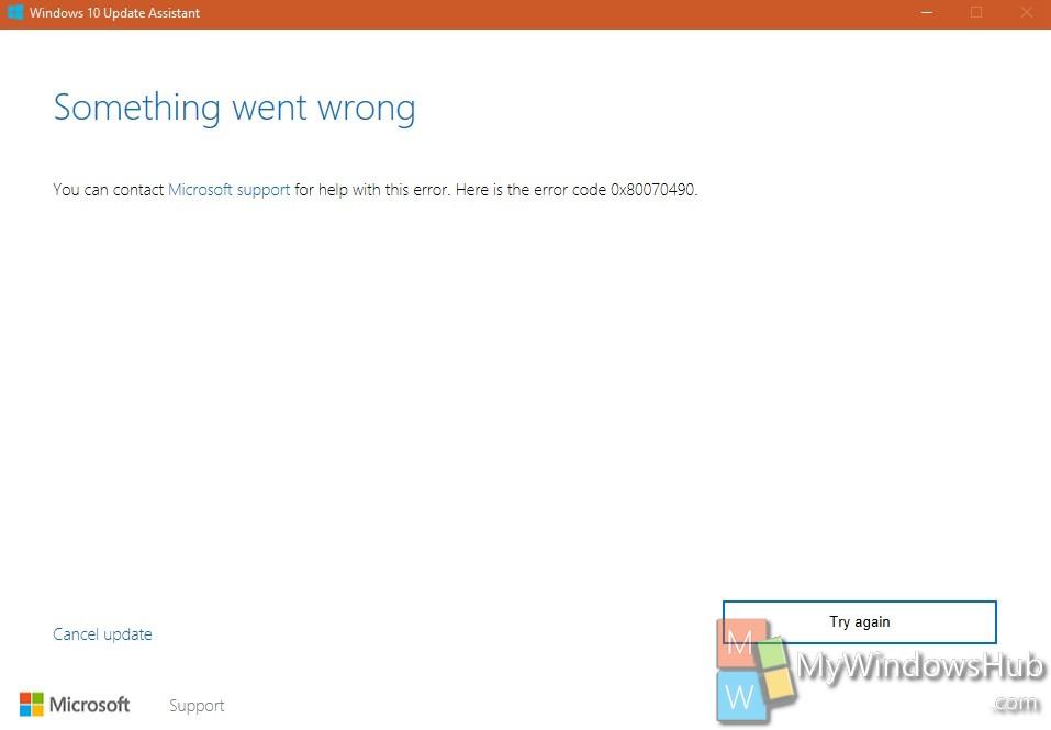 Something went wrong 0x80070490