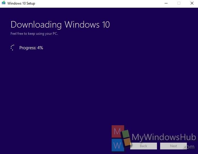 Start Downloading Windows 10