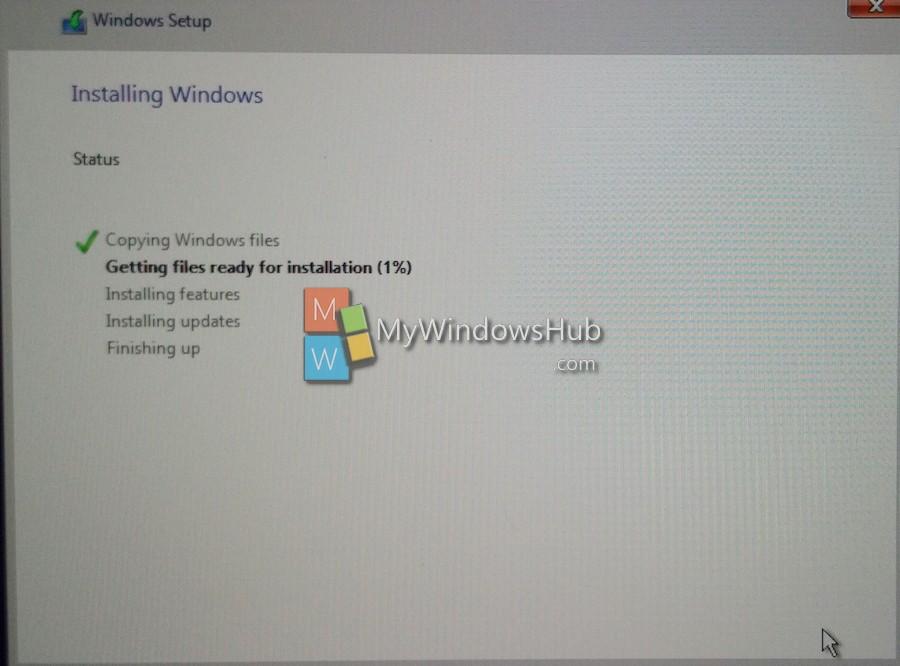 Windows 10 installation running