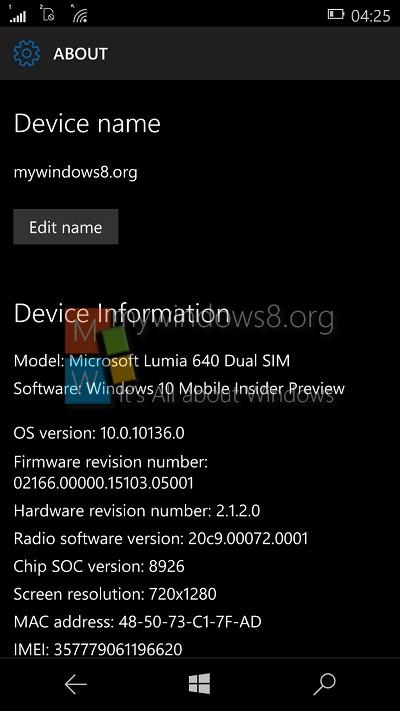 Windows 10 mobile OS