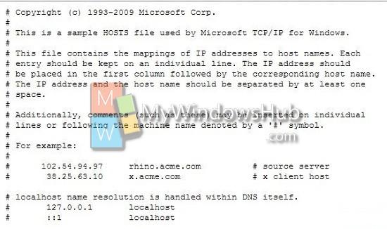 Default Hosts File