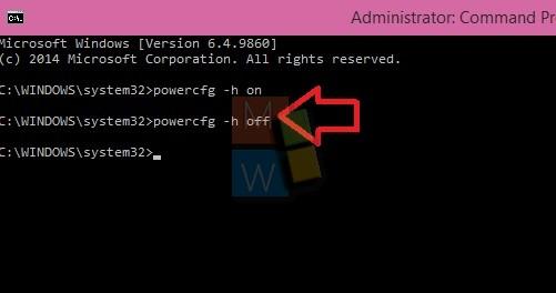 Type disable command for  Hibernate