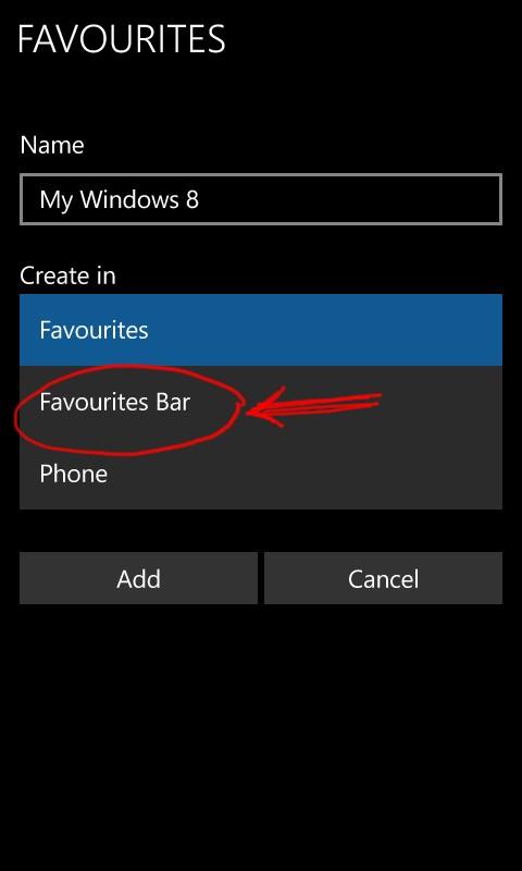 Microsoft Edge add to favourite bar