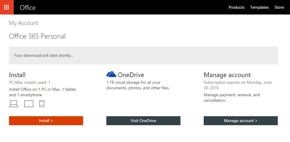 Start Installing Office 365
