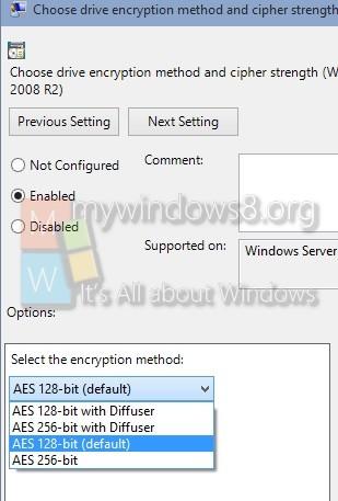 Bitlocker encryption and cipher
