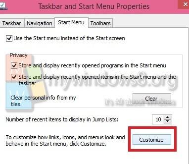 Customize Start